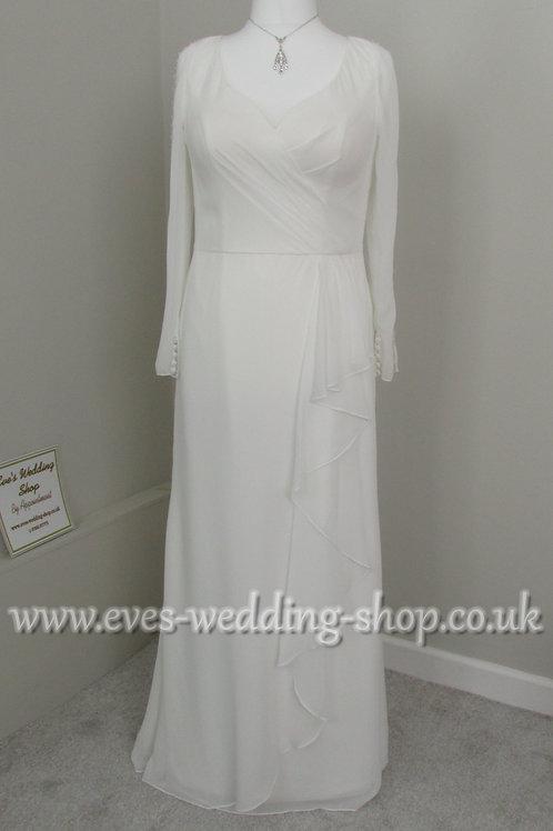 Berketex simple ivory chiffon wedding dress UK 16