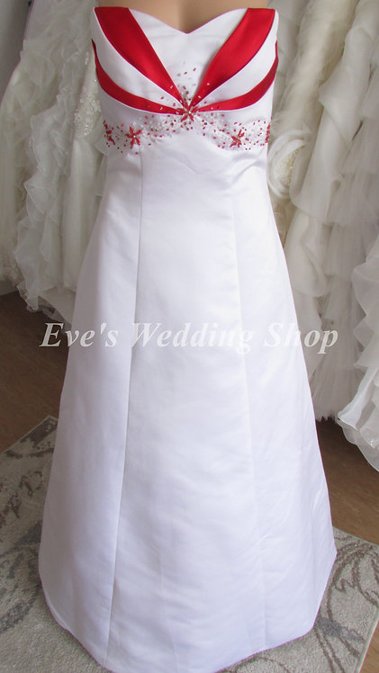 WHITE/RED WEDDING/BRIDAL DRESS UK 12/14