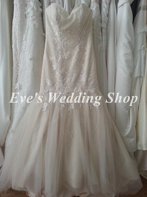 Romantica ivory/light gold wedding dress UK 14