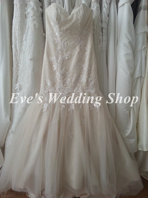 Romantica ivory/light gold wedding dress UK 10/12
