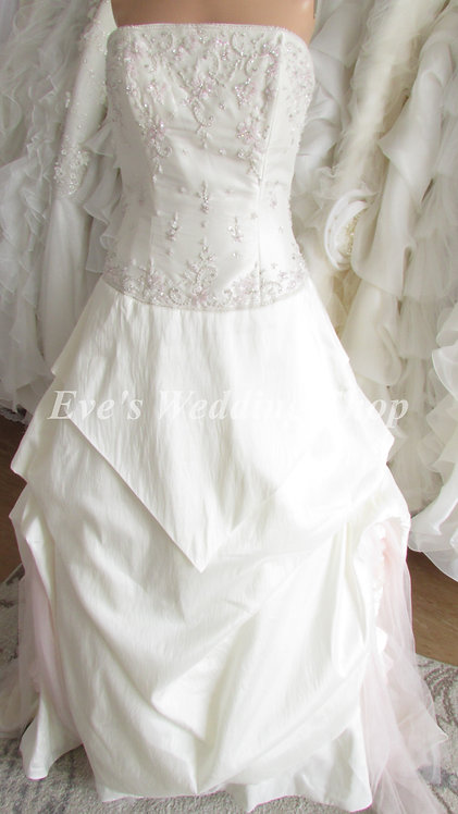 ALYCE DESIGN IVORY/PINK WEDDING DRESS UK 12