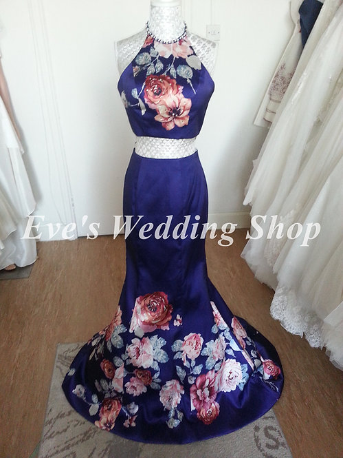 Blue floral 2 pc ''blush'' Alexia designs prom dress US 0 - UK 4