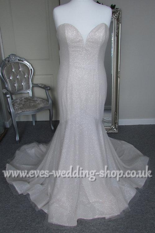 San Patrick blush pink glitter wedding dress UK 16