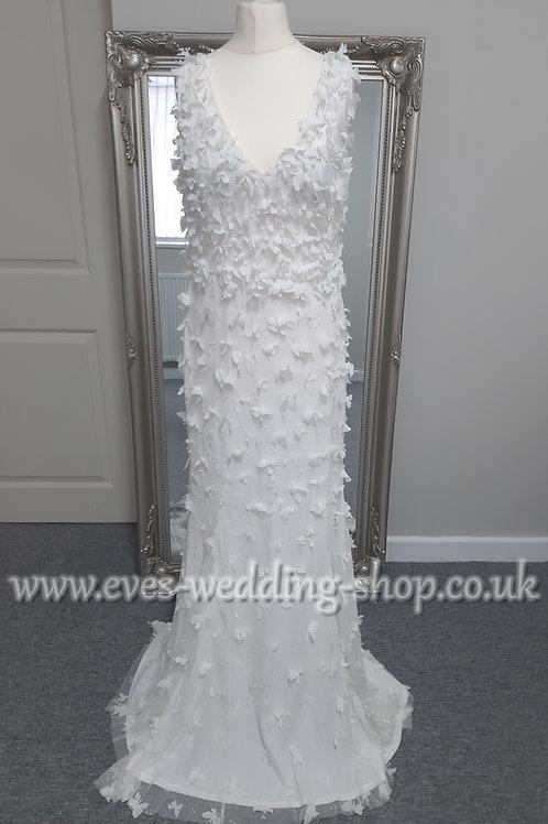 Eliza Jane Howell white with ivory butterflies  wedding dress UK 10
