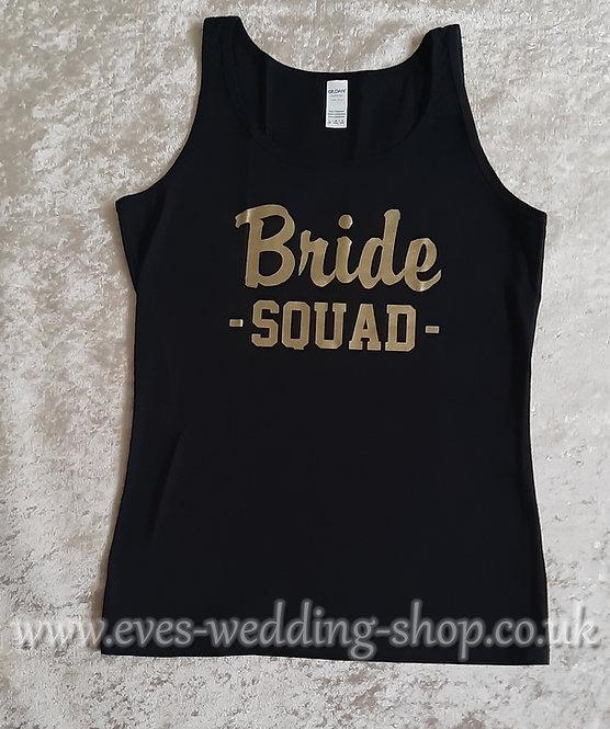 ''Bride SQUAD'' black cotton vest
