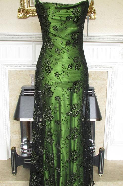 GREEN GLITTER FLOWER MESH EVENING DRESS UK 10