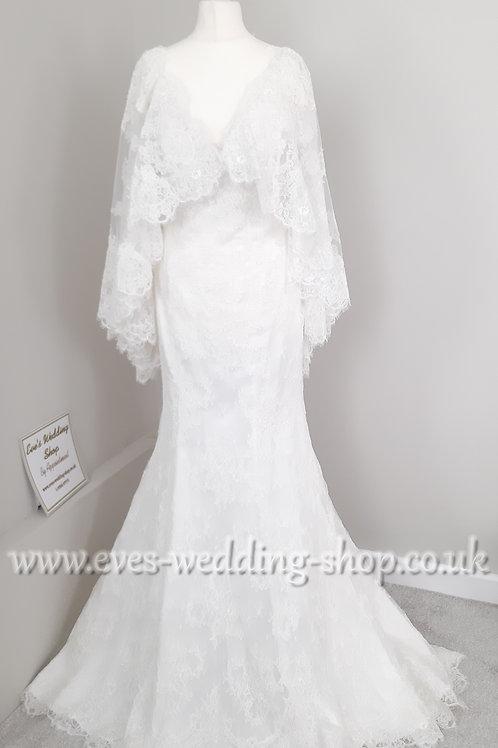Ronald Joyce ivory wedding dress with detachable cape approx UK10