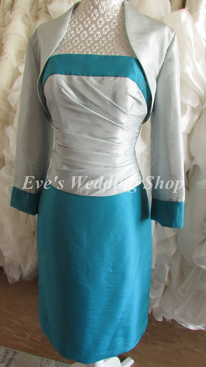 3 pc silver green Mother of bride/groom dress EU 36 siZE