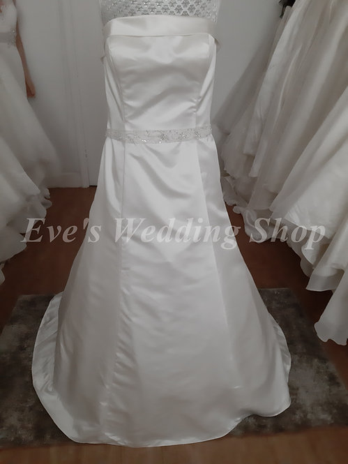 Berketex simple satin wedding dress with belt UK 14/16
