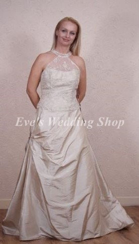 ESTE'S TOFFEE COLOR COLLAR NECK WEDDING DRESS 12
