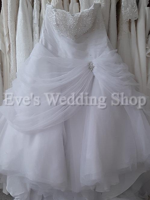 Tom Flowers Brilliant white princess wedding dress UK 28