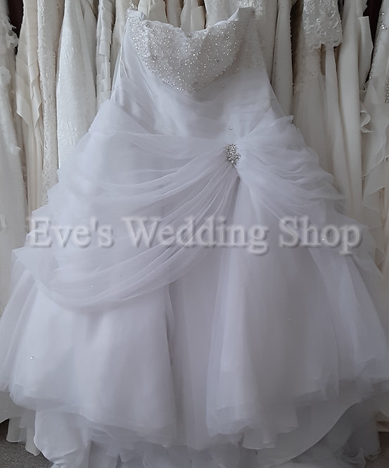 Tom Flowers Brilliant white princess wedding dress UK 28