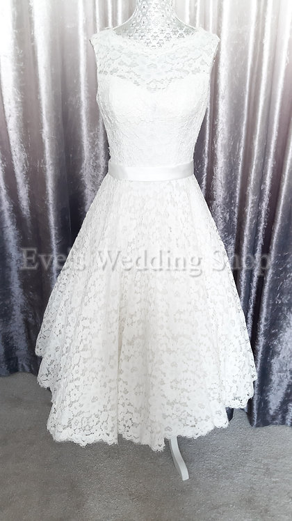 Verise ivory lace short wedding dress UK 8/10
