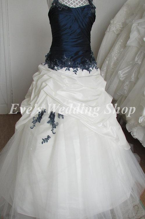 Veromia Bellice ivory navy wedding dress