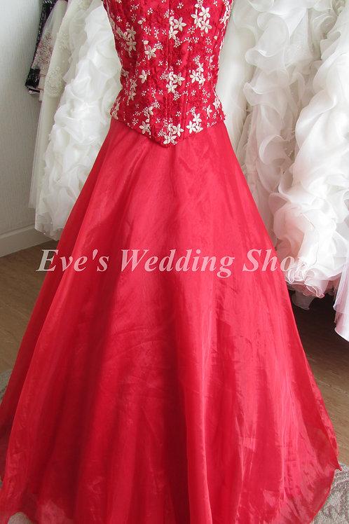 Red gold wedding/prom organza dress 10/12