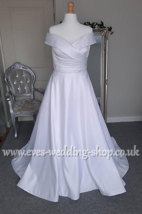 Pure Bridal of the shoulder white wedding dress UK 14