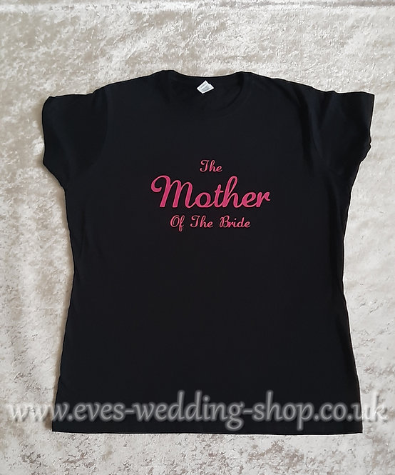 ''The Mother of the Bride'' black cotton T-shirt
