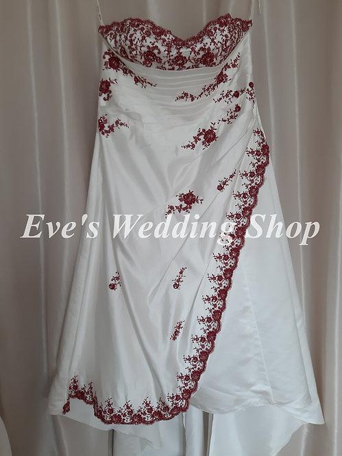 Julian & Adam ivory / burgundy wedding dress UK size 30