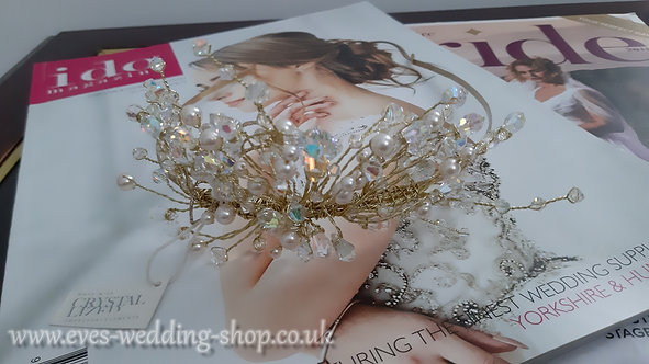 Swarovski gold color prom wedding tiara