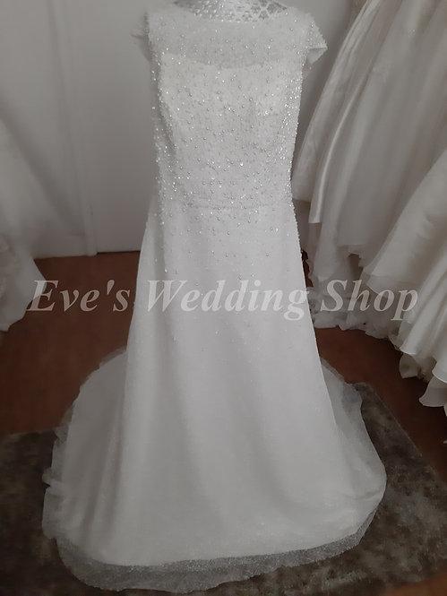 Berketex glitter sparkly ivory wedding dress UK 20/22