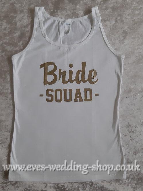 ''Bride SQUAD'' white cotton vest