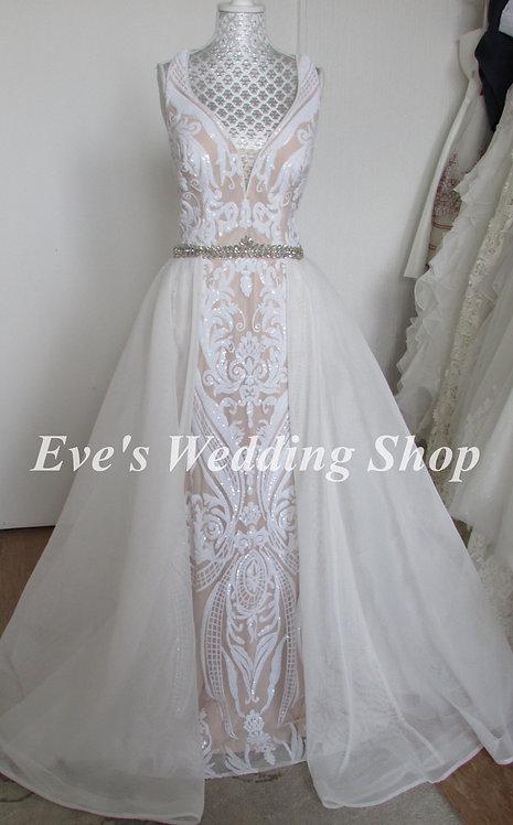 Off white / nude wedding dress UK 14