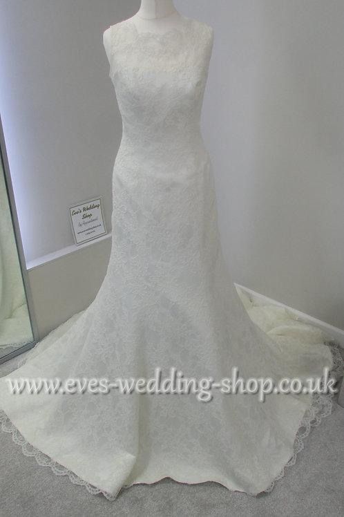 Augusta Jones high neck ivory lace wedding dress approx. UK 8/10