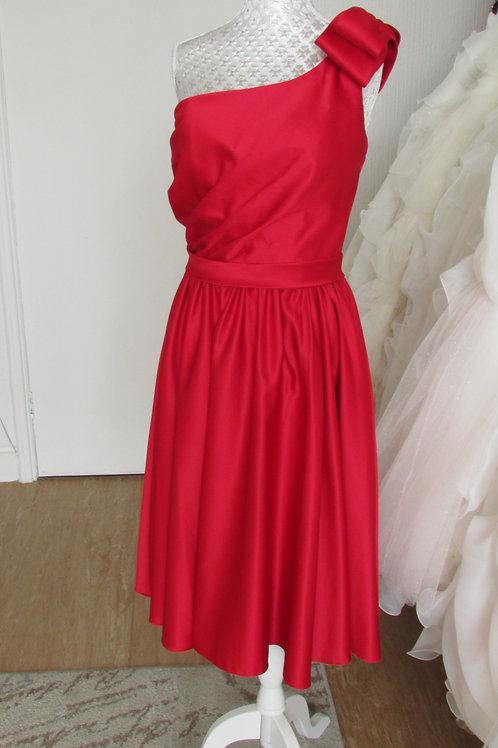RED PURE BRIDAL SHORT STRAP BRIDESMAID DRESS 12