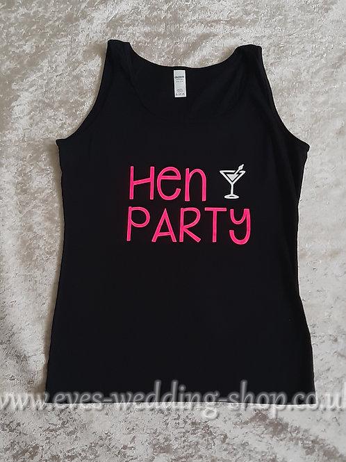 ''Hen Party'' black cotton vest