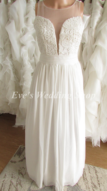 Chiffon lace mesh wedding dress