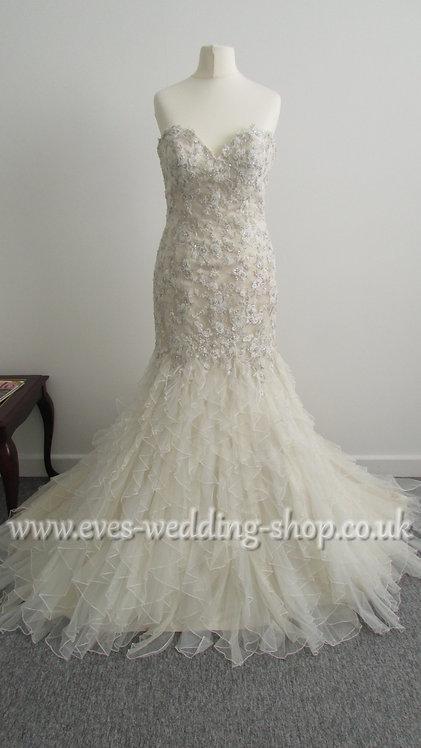Chloe Jai champagne wedding dress UK 8