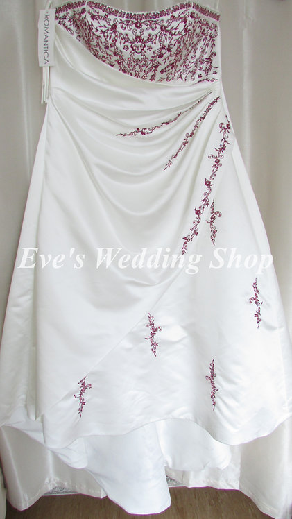 Romantica ''Eleanor'' ivory burgundy wedding dress UK 28/30