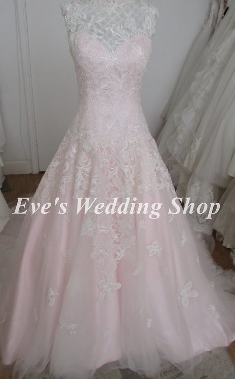 Beautiful Victoria Kay ivory / pink wedding dress Uk size 12/14