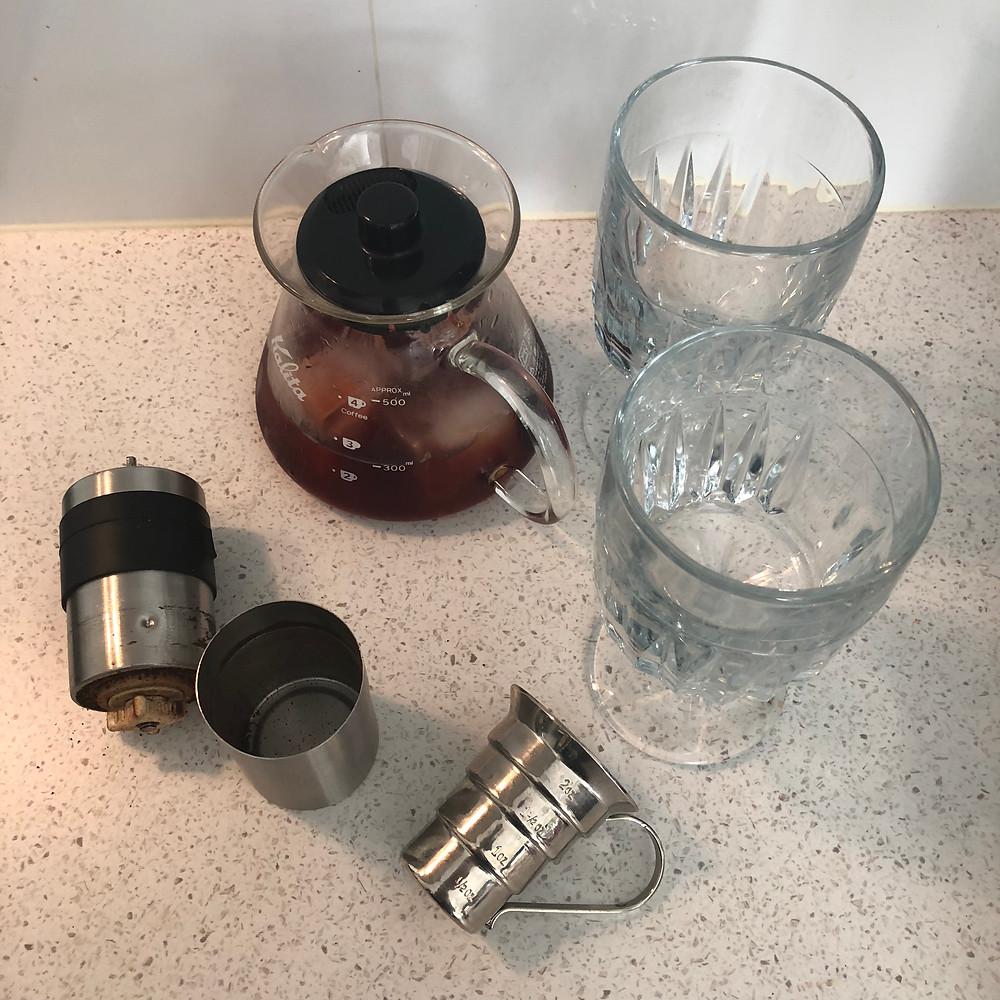 Coffee Mezcal Negroni after stirring in the Kalita Wave Carafe