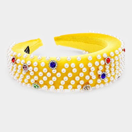 Yellow Pearl/Bling Headband