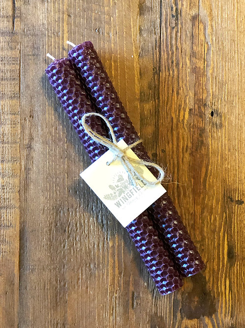 "Burgandy 8"" Rolled Beeswax Taper Candle"