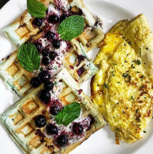 Fresh Blueberry Waffles served with Eggs