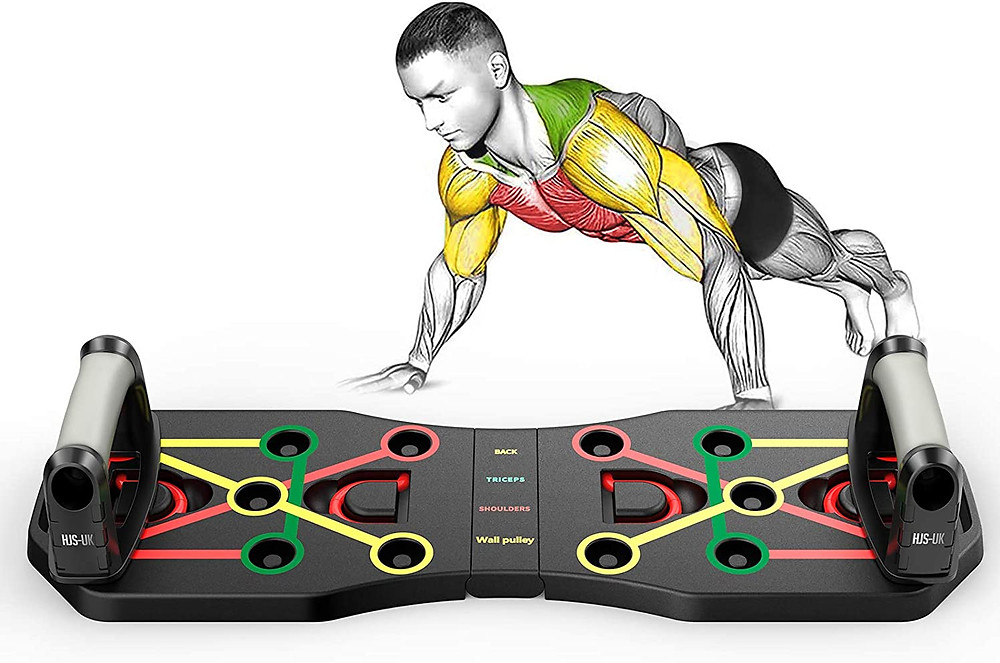 This is TZS Push Up Board Fitness with Color-Coded Push up Handles, Press Up Board Home Gym and Home Exercise Equipment Build Body, Portable Bracket Board with Resistance Bands for Men Women Fitness Training