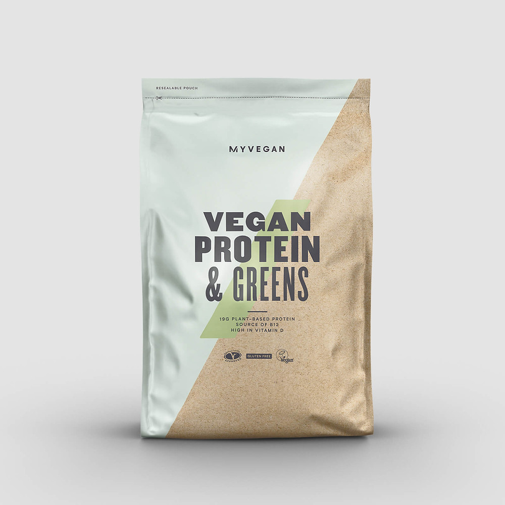This is an image of a vegan protein and green blend supplement by the brand MyProtein