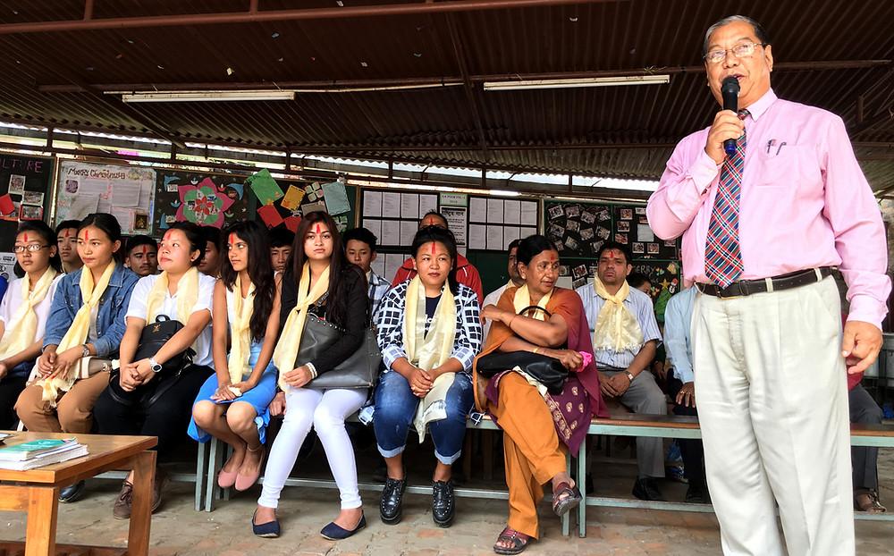 Principal KP Gurung congratulates all the EA graduates under Sc Stream.