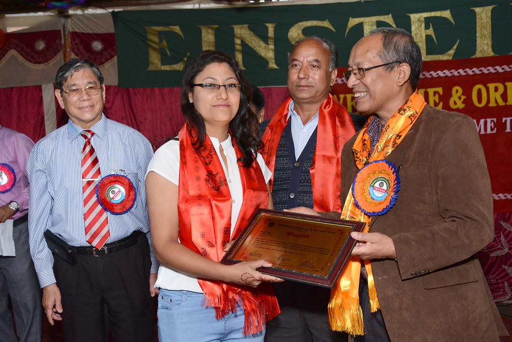 Ex-student felicitated by Chief Guest Dr. Shanker Kumar Shrestha (Ph.D Victimiloggy), Sr. Advocate at Supreme Court.