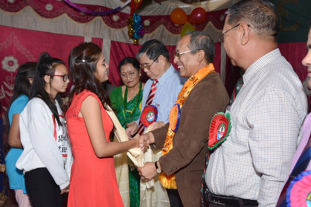 Freshers felicitated by Chief Guest Dr. Shanker Kumar Shrestha (Ph.D Victimiloggy), Sr. Advocate at Supreme Court.