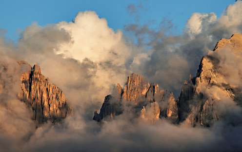 Dolomites with clouds
