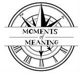 A compass needle circle with a rectangle over the top reading Moments of Meaning