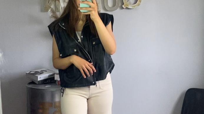 Pantalon large taille haute beige