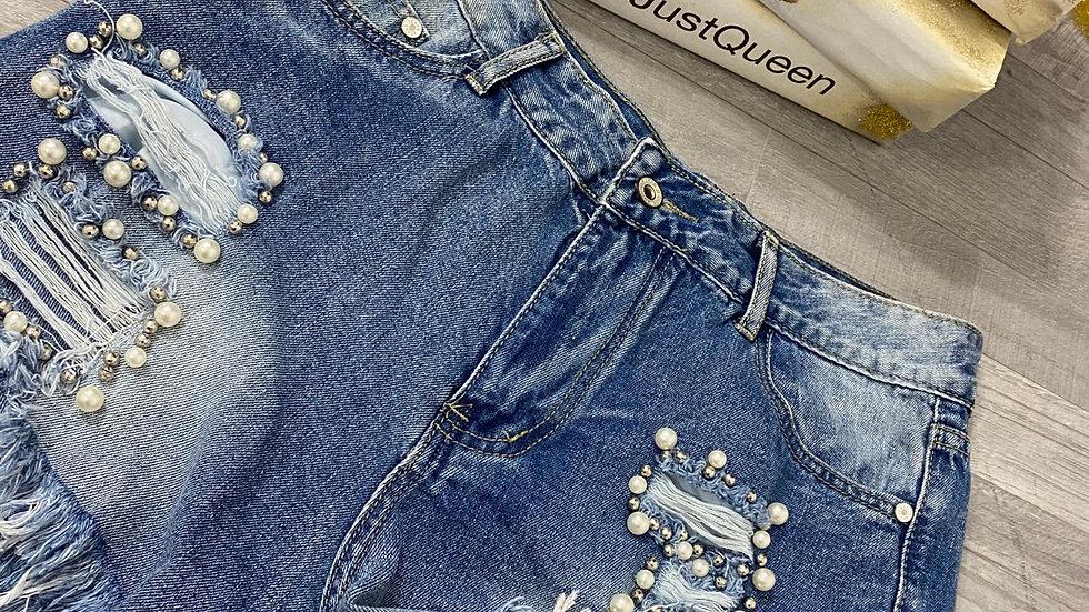 Short jeans foncé