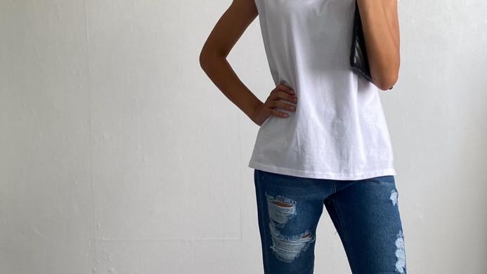 Jeans foncé déchirer