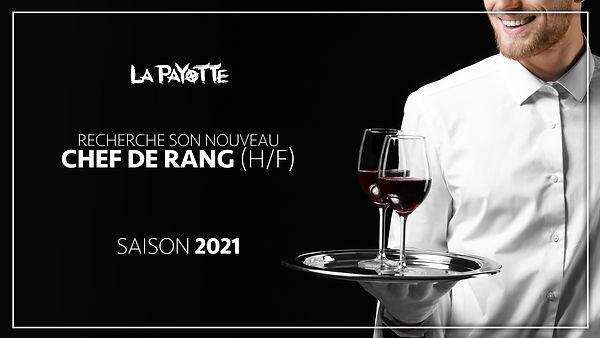 offre d'emploi saisonnier 2021 chef de rang serveur recrutement restaurant La Payotte maine et loire mazé milon angers