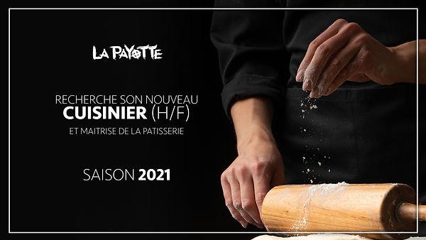 offre d'emploi cuicinier patissier saison 2021 restaurant La Payotte maine et loire