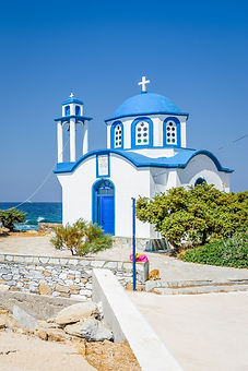Holy white blue greek church shining ove